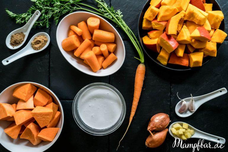 Diese Suppe hat richtig viele Vitamine: Kürbissuppe mit Süßkartoffeln und Karotten. Perfekt in der Erkältungszeit.