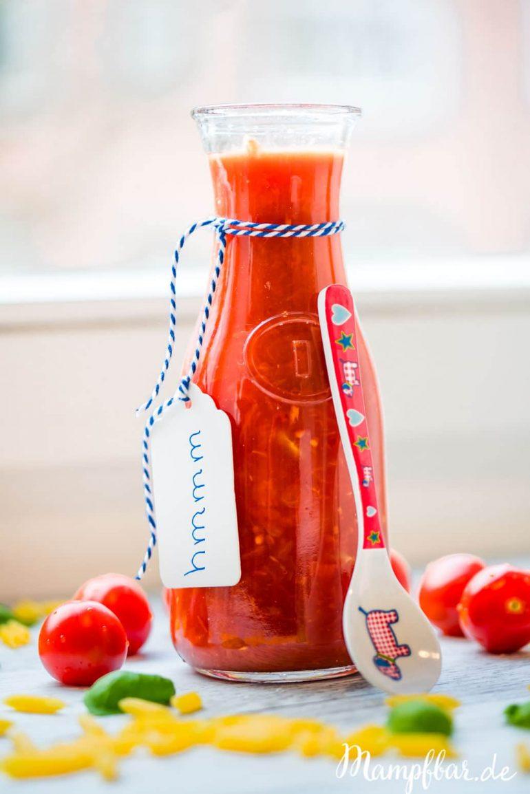 Leckere selbst gemachte Tomatensauce und weitere einfache Rezepte für die ganze Familie, findet ihr bei uns auf mampfbar.de