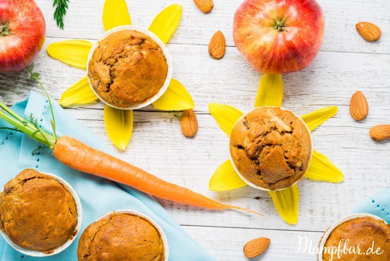 Gesunde Kinder Muffins mit verstecktem Gemüse & Obst sind ein super Snack für Zwischendurch. Klick hier für das einfache Rezept