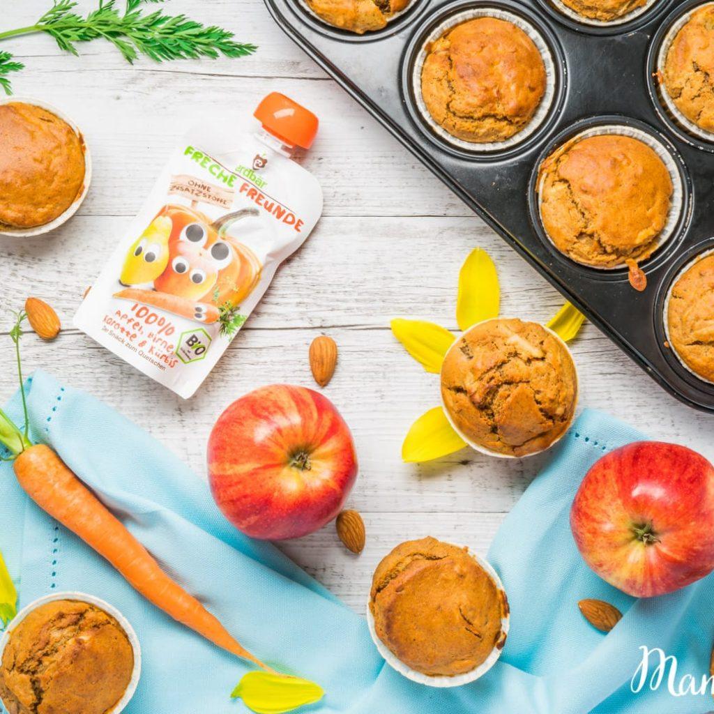 Ganz einfache Muffins für Kinder aus Karotten, Äpfeln & Banane. Das ganze Rezept gibt's hier.