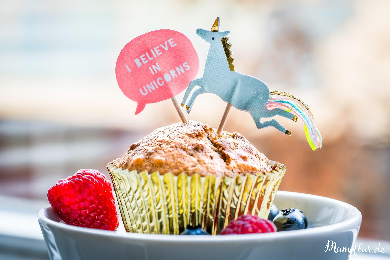 Gesunde Muffins für Kinder mit schön viel Obst und ohne raffinierten Zucker.
