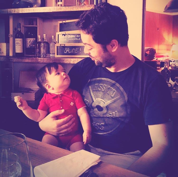 Simon mit seinem Patenkind Lorenz